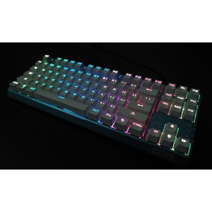 送注音貼幻彩RGB 87 鍵電競青軸機械鍵盤