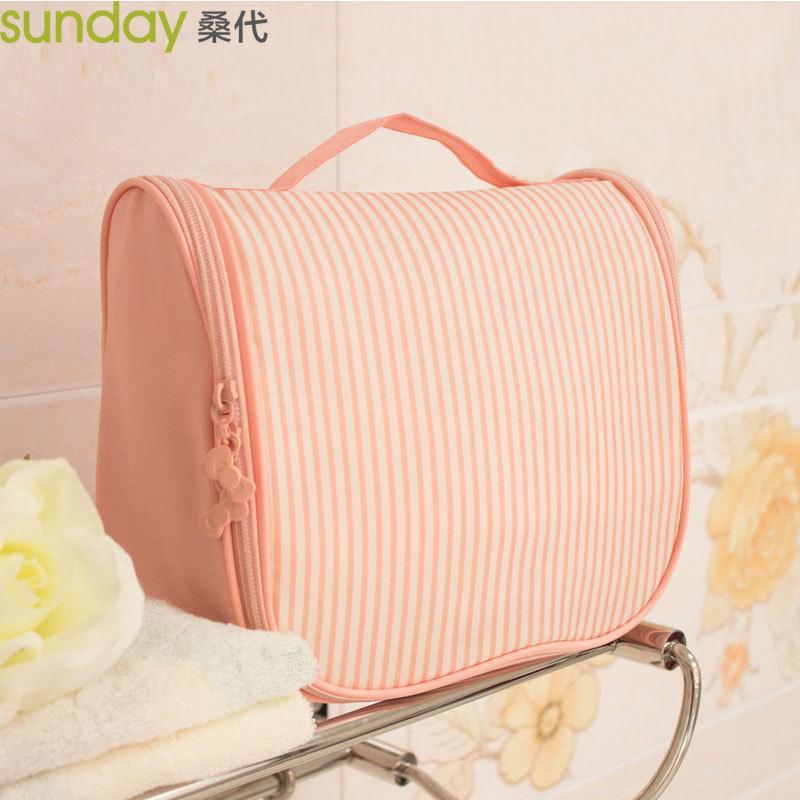 條紋外出用盥洗收納袋粉紅色跟紫色兩款