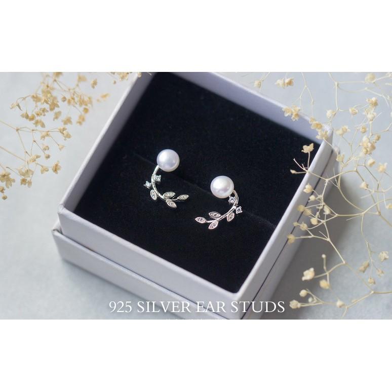 皇后銀飾典雅天然珍珠耳環鑲鑽樹葉耳針不過敏925 純銀E117