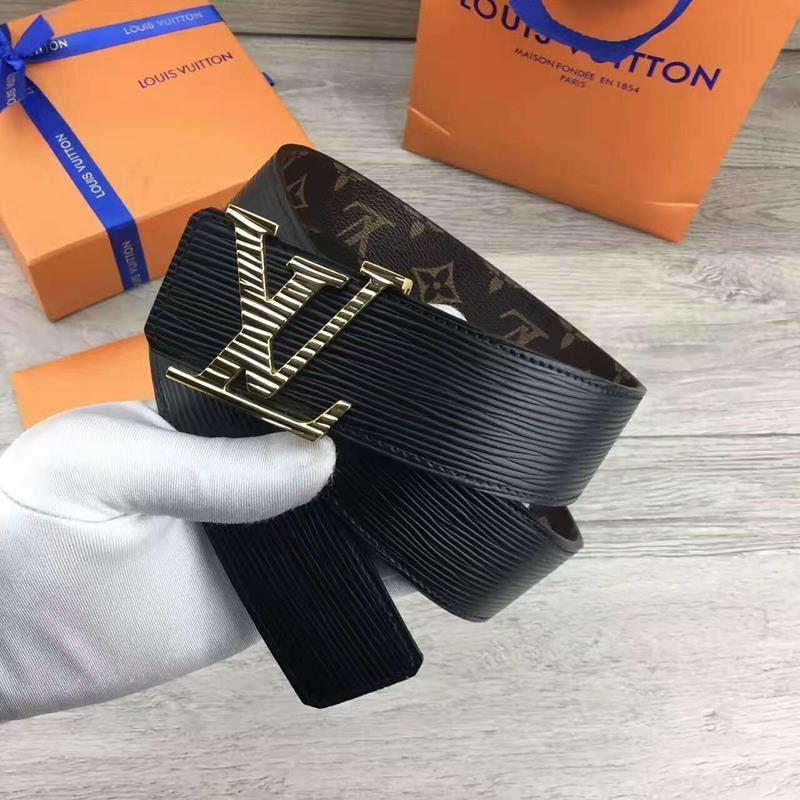 貨LV 路易威登黑色條紋字母底面帶金色銀色板扣腰帶 商務牛皮 皮帶寬4 0CM