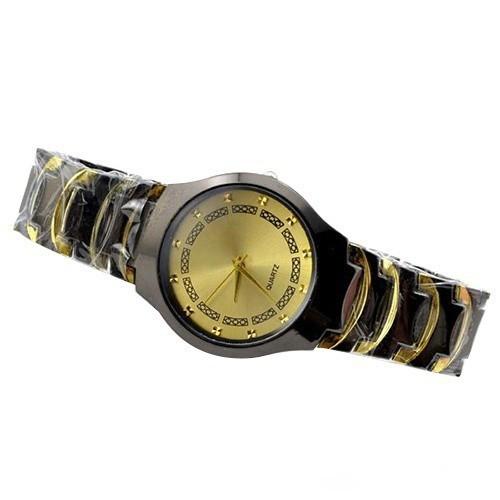 商務休閒男裝不銹鋼帶石英圓形錶盤手鍊表
