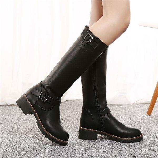 101 254 英倫復古秋 加絨女靴平跟平底高筒套筒靴子粗跟圓頭長靴騎士靴38 黑色
