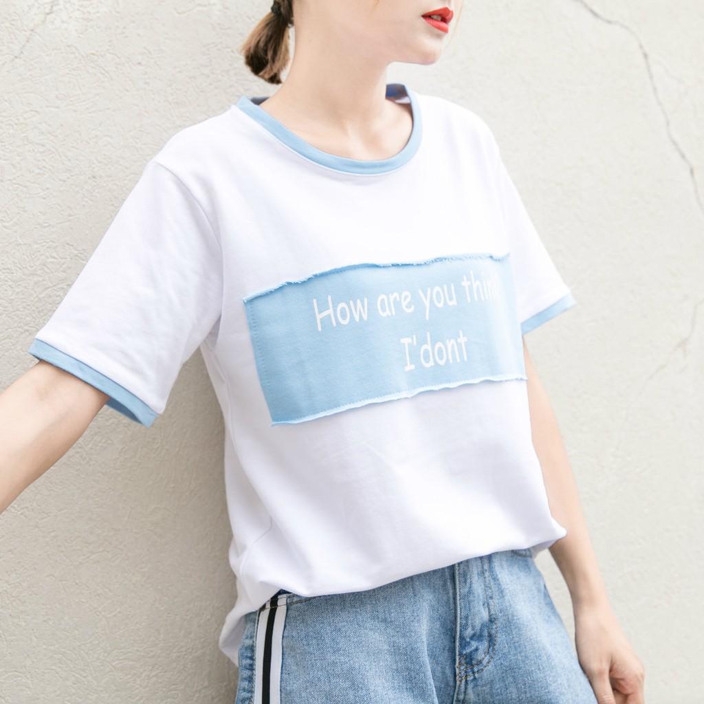 拼接簡約字母撞色貼布印花T 恤夏裝短袖百搭寬鬆大碼T