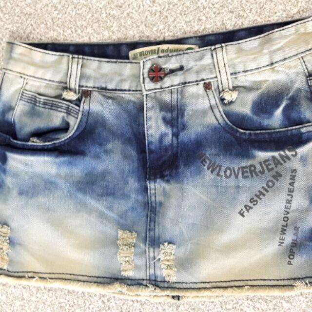 復古刷色正面小刷破 牛仔短裙M 號