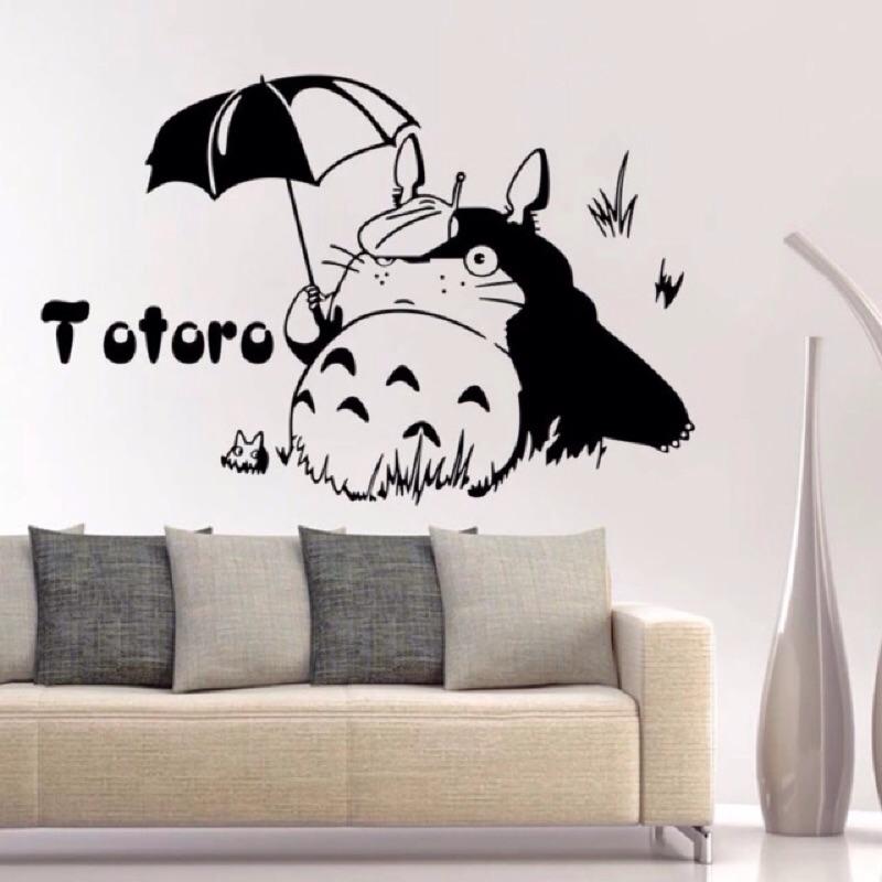 龍貓 款龍貓撐傘款TOTORO 牆貼兒童房裝飾貼壁紙貼壁畫貼教室臥室書房客廳壁貼可移除貼紙
