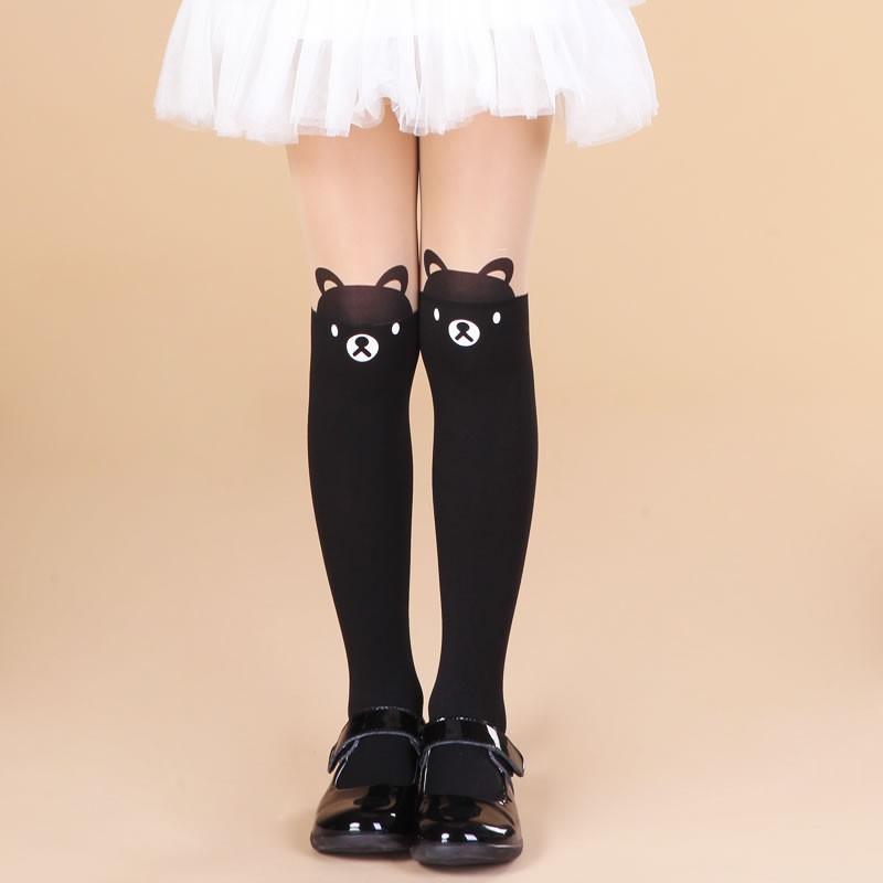 童年不同樣  純棉百搭打底褲兒童連褲襪女童打底褲襪春秋款拼接絲襪假過膝高筒小孩女童襪子