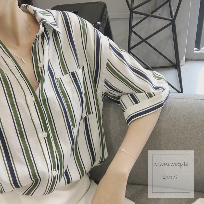 newnewstyle ~SP2113 ~韓國東大門 度假風藍綠 直條紋棉麻五分袖寬鬆顯瘦
