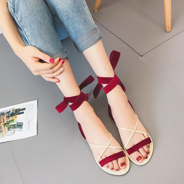 露腳趾女百搭羅馬鞋 平底學生鞋原宿風簡約交叉綁帶涼鞋子