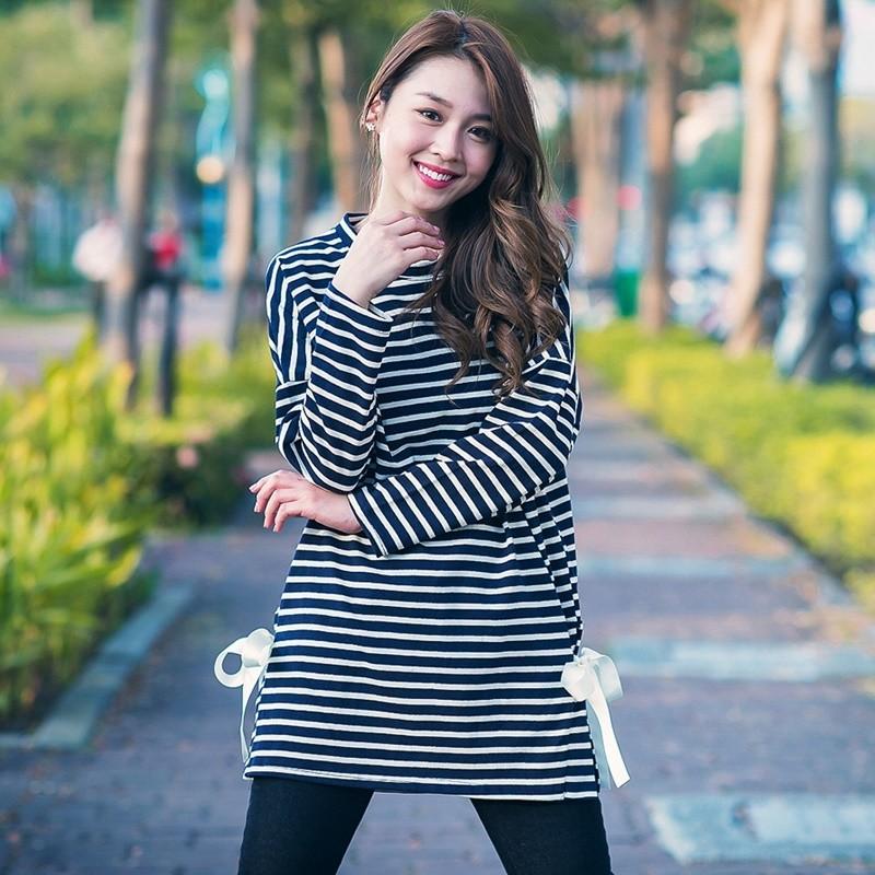 正韓條紋雙側綁帶長版寬鬆上衣共2 色韓衣風格