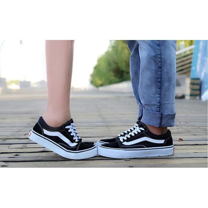 ~Tenacity ~VANS OLD SKOOL 款黑白男女情侶高低筒帆布鞋滑板鞋黑白配