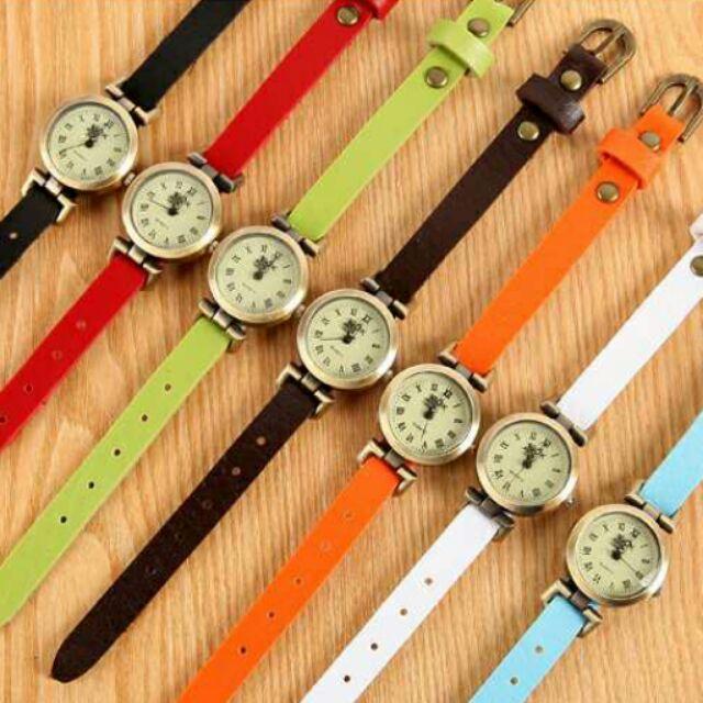 韓國簡約復古皮帶文藝風羅馬字母手錶對錶石英錶男錶女錶學生錶鐘錶