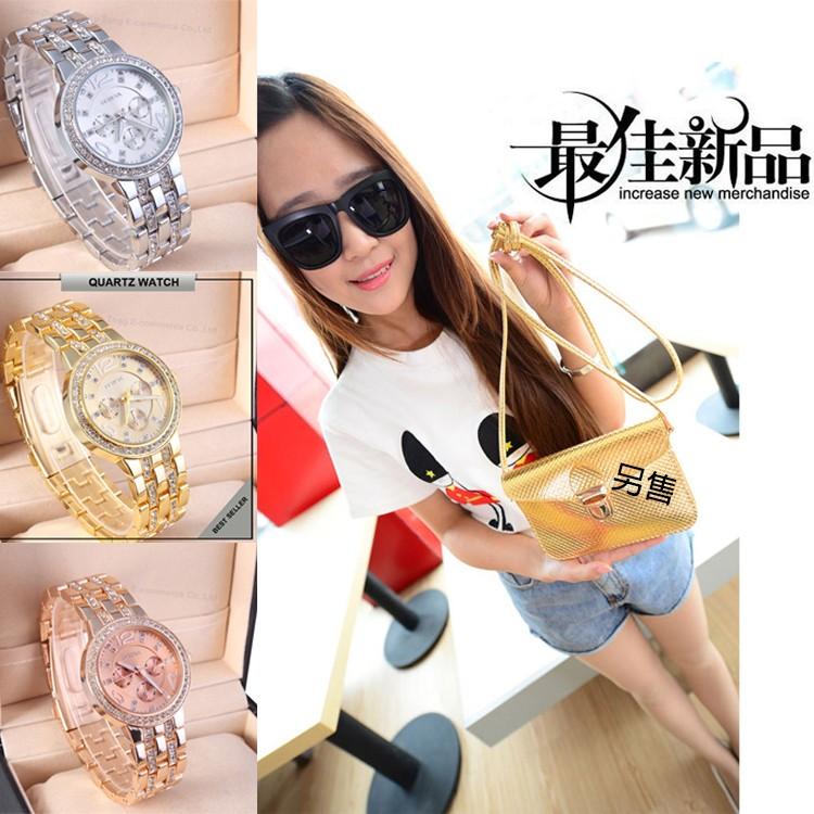 ~MR~三色 手錶玫瑰金水鑽鋼帶手錶腕錶女錶潮錶鑲鑽石英裝飾高貴氣質美感女孩 錶情侶送禮情