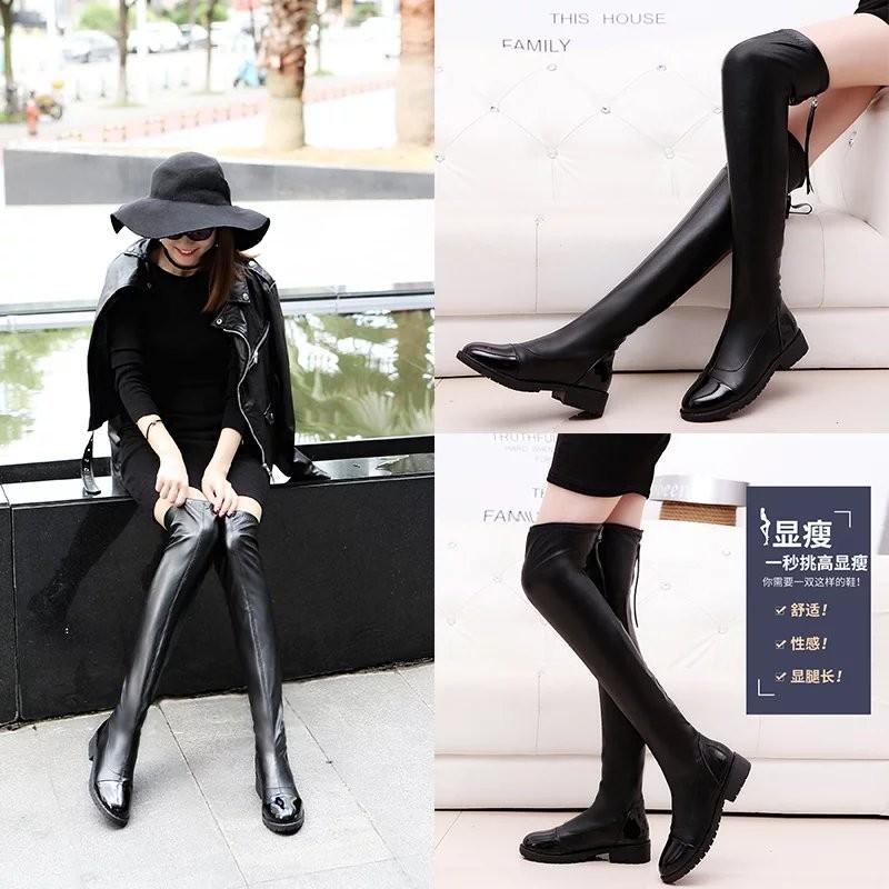 ~hello 大小姐~ 秋 長筒女鞋高筒坡跟長靴騎士靴彈力瘦腿中跟女靴過膝靴潮