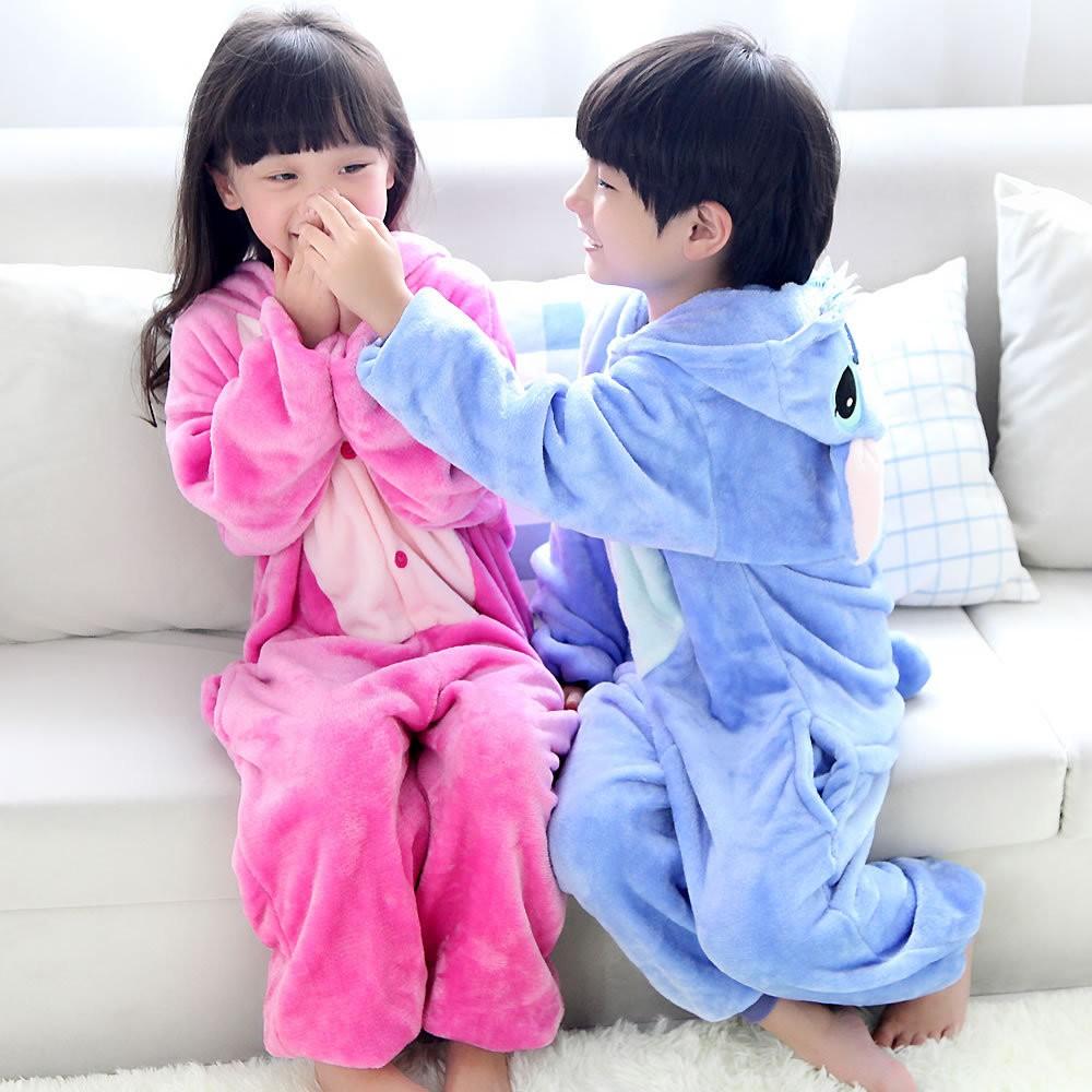 法蘭絨動物史迪奇連體睡衣長袖卡通家居服親子 男女寶寶兒童