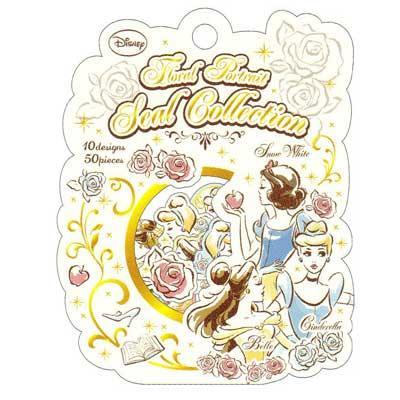~莫莫日貨~  迪士尼水彩塗鴉風公主系列燙金貼紙組貼紙包白雪公主灰姑娘貝兒46166