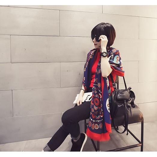 愛逛街~ C ~ 潮  彩色圖案印花女棉麻圍巾超大披肩空調兩用5466