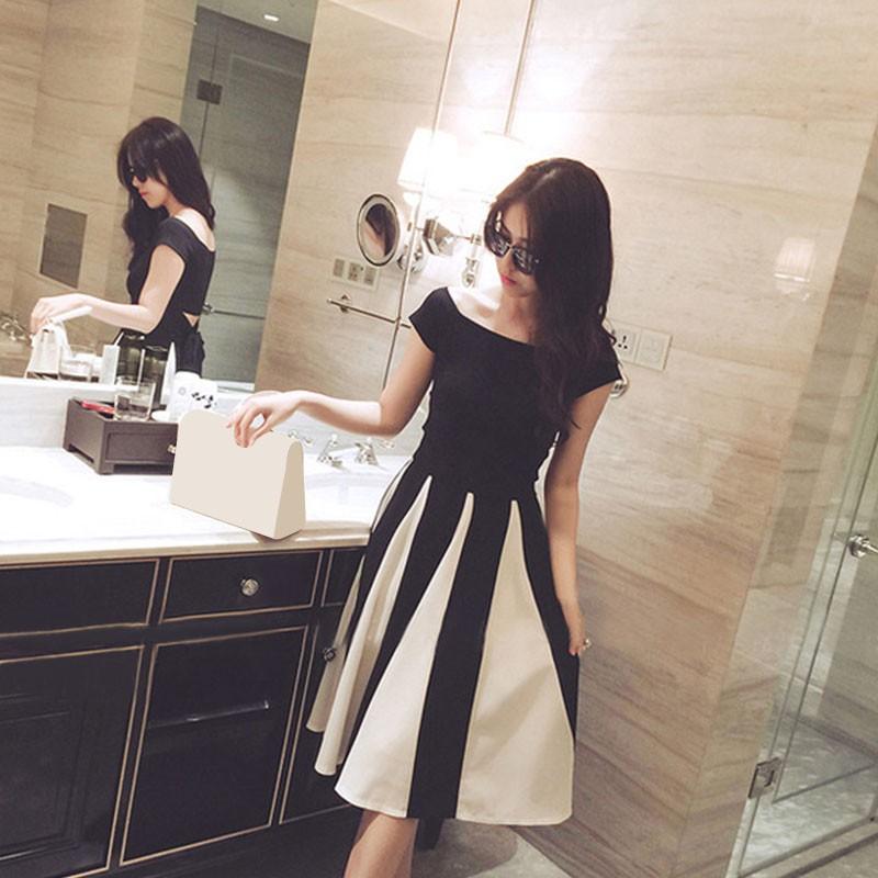 韓妞 夏裝 名媛氣質系帶短袖上衣修身顯瘦條紋裙子兩件套裝女