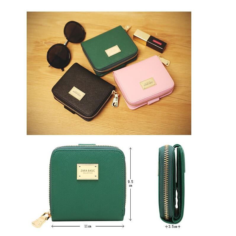 ~ ~實拍簡約手包顏色多選ZARA BASIC 十字紋軟皮短款兩折多用女士錢包零錢包包硬幣