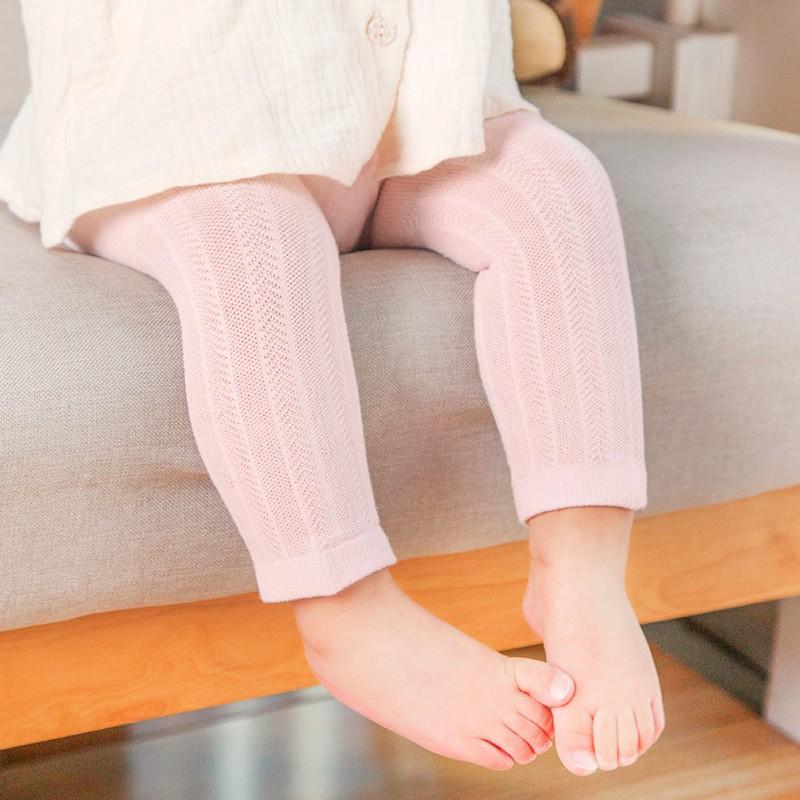 新品 網眼薄款兒童連褲襪白色全棉寶寶女童襪子九分舞蹈打底褲