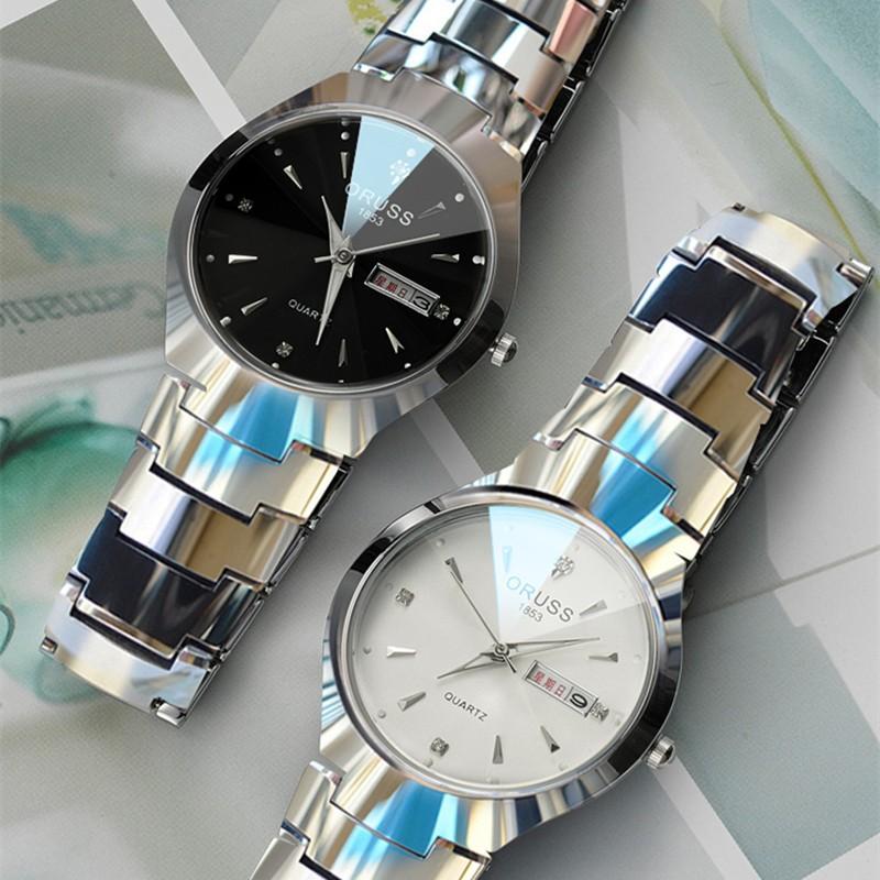 唯品悅聚男士精鋼帶超薄全自動機械表男表夜光防水學生女日歷 情侶手表