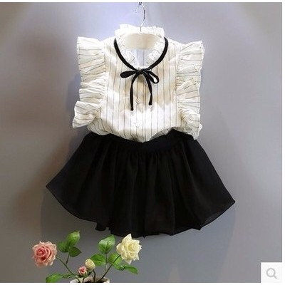 2016  女童飛袖氣質條紋襯衫甜美可愛裙褲兩件套女童套裝