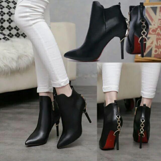 潮 高跟短靴尖頭細跟女靴馬丁靴防水台及踝靴女鞋冬靴
