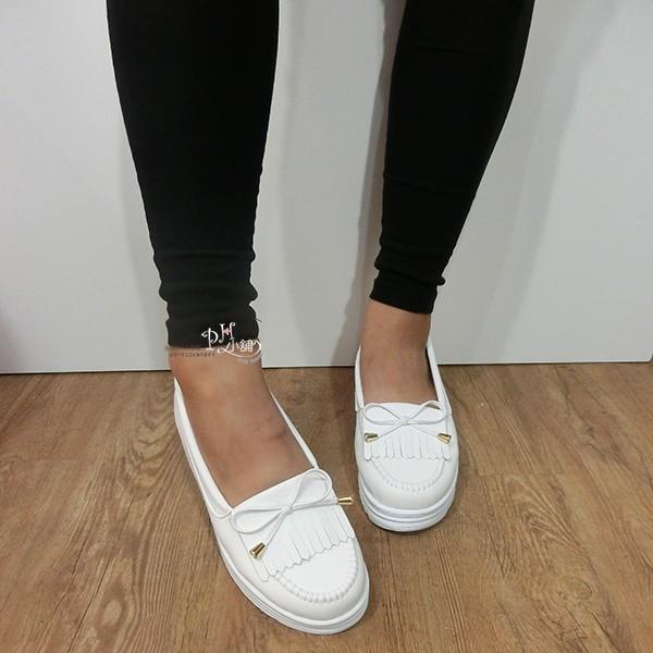 韓系厚底流蘇莫卡辛馬卡龍小白鞋,懶人鞋娃娃鞋,蝴蝶結車縫線 包鞋鬆糕鞋,MIT 製~H90