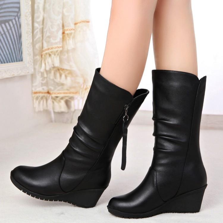 女士棉靴平底靴子女高跟坡跟女靴 女單靴短中筒馬丁靴加絨女鞋