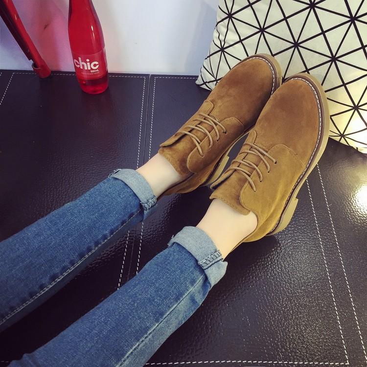 2016 馬丁靴英倫風春秋單靴及踝靴 棉靴復古系帶磨砂短靴女