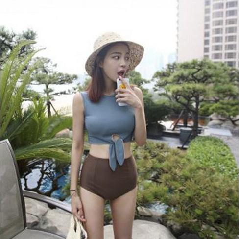 正韓 分體泳衣高腰遮肚顯瘦泳裝鋼托聚攏性感溫泉遊泳衣bikini 鋼圈裙式大 泳衣