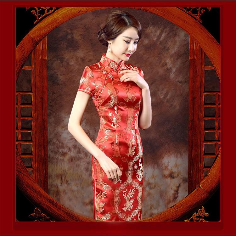 新娘禮服旗袍迎賓敬酒謝客龍鳳吉祥緹花工藝長款短袖旗袍