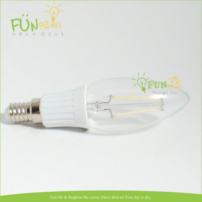Fun 照明LED E14 2W 仿鎢絲全周光燈泡取代傳統25w 鎢絲燈泡 1w E12