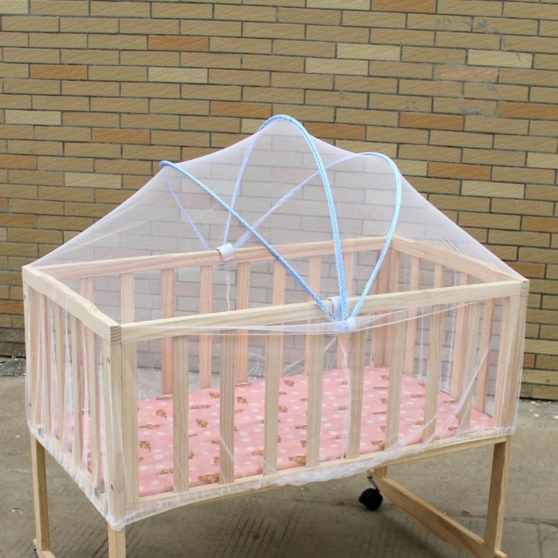 嬰兒床蚊帳無底折疊式寶寶搖籃床幼兒童床蚊帳罩 帶支架可折疊