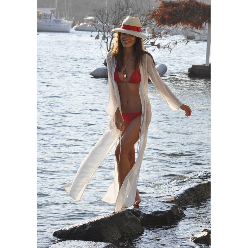 女裝雪紡長連衣裙沙灘裙前襟紐扣拉繩束腰性感高開叉寬松型透視薄款防曬衣度假裙雪紡馬克西長裙