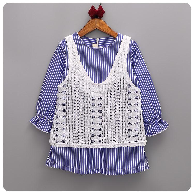 C1113 女童連衣裙假兩件蕾絲拼接氣質連身裙子條紋公主裙洋裝MAMA 咪呀 衣鋪