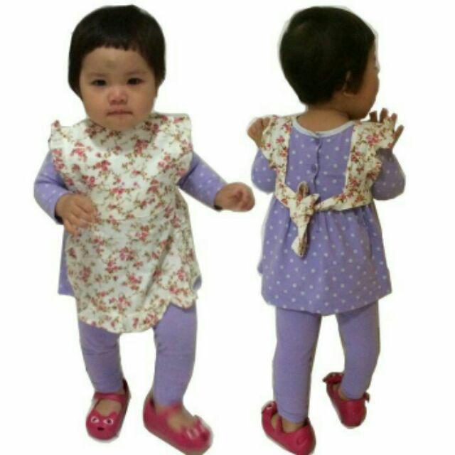 ~媽咪Baby 小殿特惠下殺~ 女寶寶嬰幼兒新生兒純棉紅色紫色可愛花邊碎花公主氣質防水衣吃
