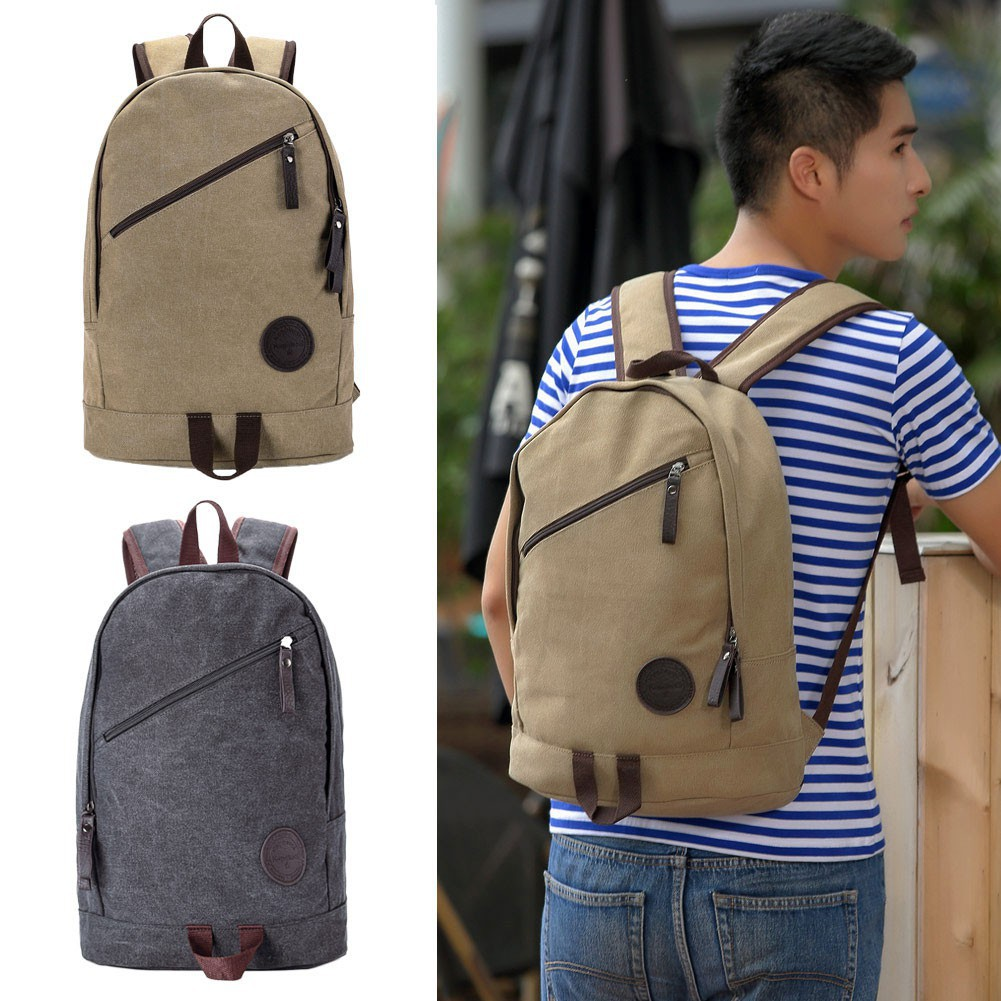 男士雙肩包電腦包帆布包可調節背帶雙頭拉鏈多口袋大容量 簡約書包旅行包背包