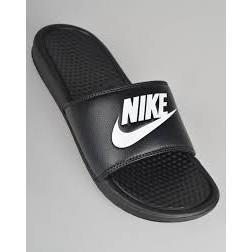正品Nike Benassi JDI Slider Flip 款黑底白字體拖鞋 男女