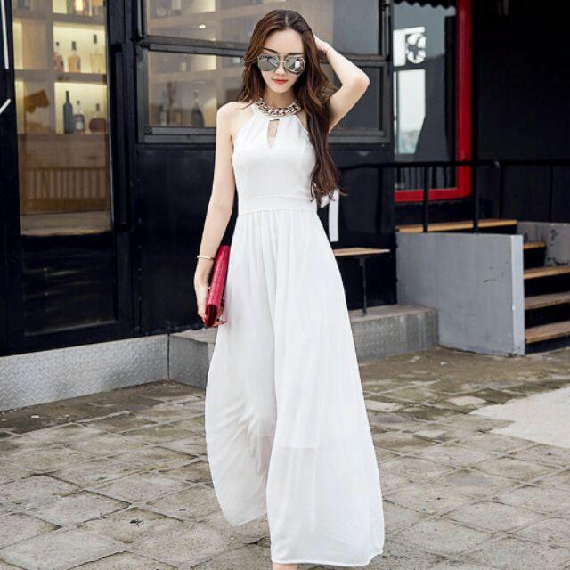 優雅女神 削肩顯瘦雪紡長裙婚禮伴娘渡假禮服
