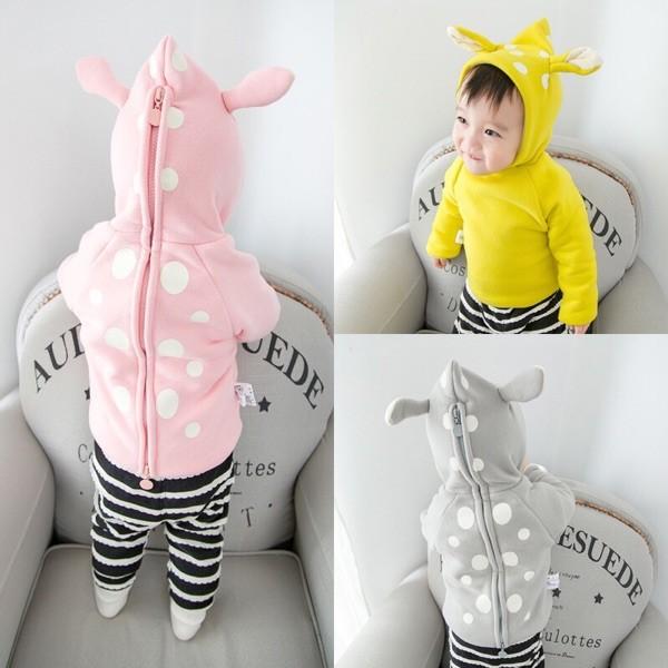 女童男童寶寶小童兒童嬰兒新生兒波點圓點耳朵加厚加絨背後拉鍊長袖連帽外套衛衣上衣