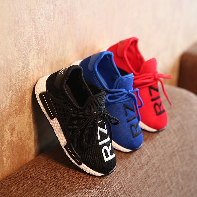 2016  童鞋兒童 鞋 男童針織網布跑步鞋透氣字母面潮