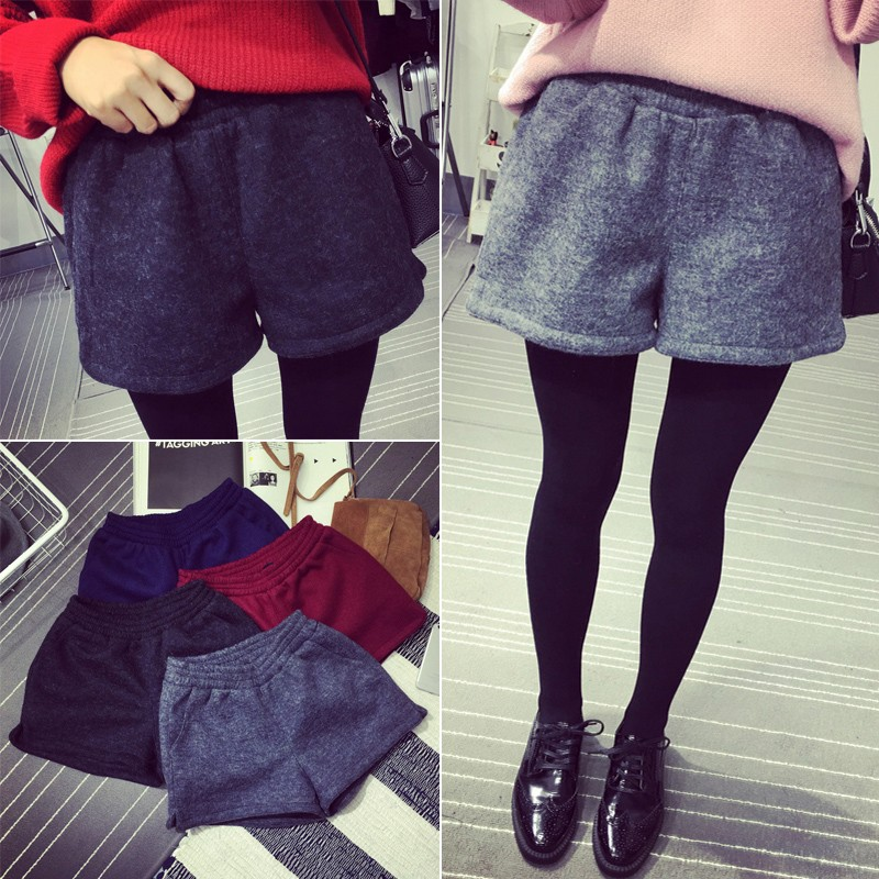 ⋊NUM Y004 ⋉百搭毛呢伸縮高腰顯瘦短褲