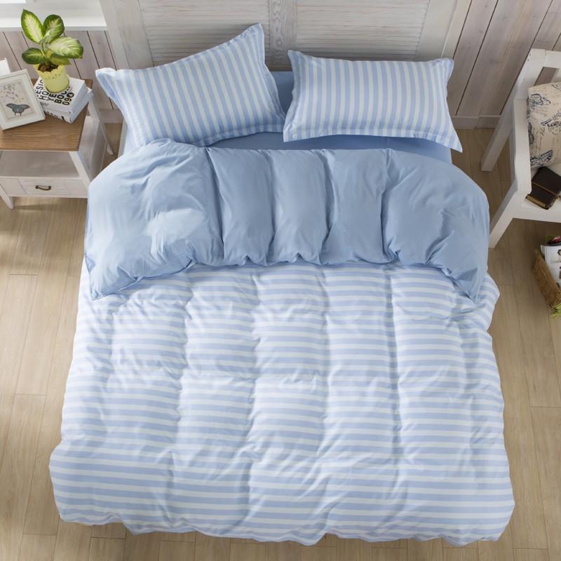 清新宜家條紋淺水藍款床包床組單人雙人雙人加大雙人特大四件組 7 14 個工作天AB01