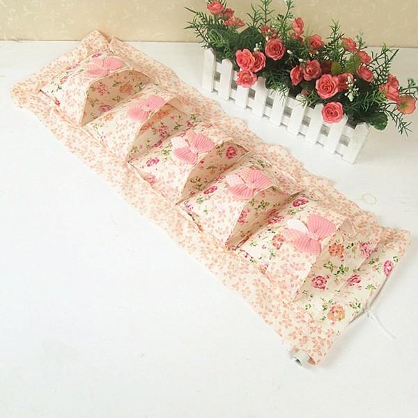 章魚球 小花蝴蝶結掛袋可懸掛壁掛多層收納袋置物袋整理袋雜物袋筆袋~0502038 ~