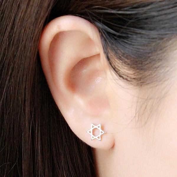 日韓簡約S925 純銀六芒星抗過敏耳針耳環耳釘女百搭飾品