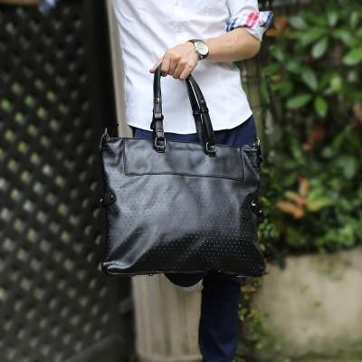 男包 包單肩包斜挎包手提包旅行包男士包包潮流 穿孔側背包肩背包公事包筆電包防水公事包防水