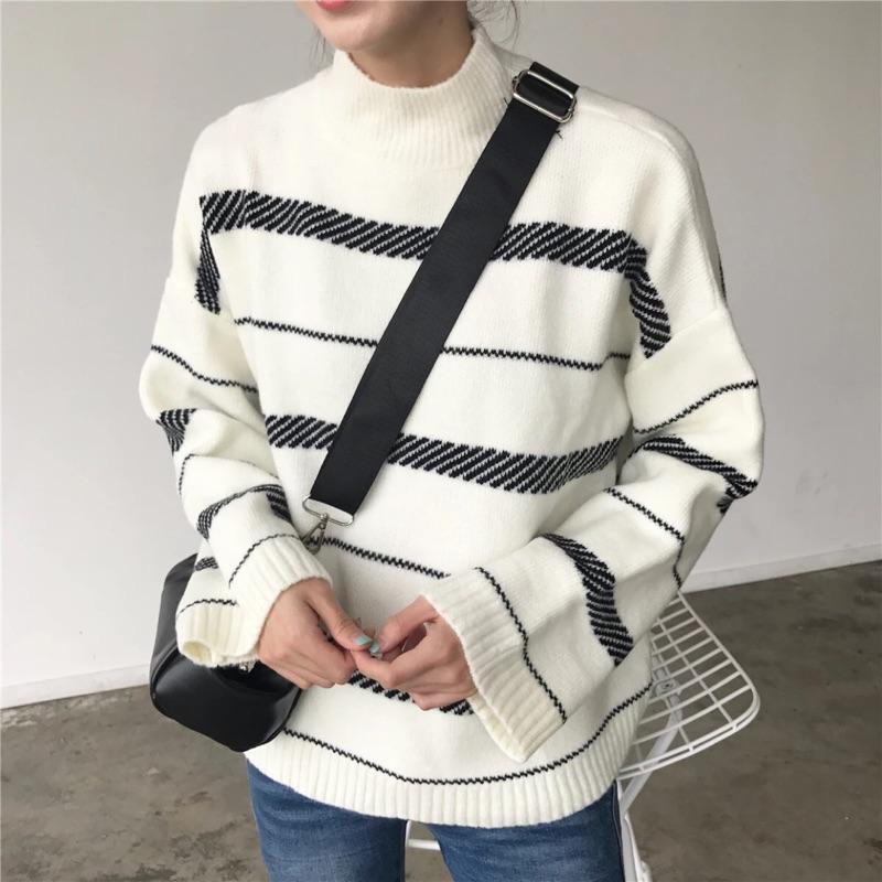 小高領斜條紋毛衣t1225 寬袖