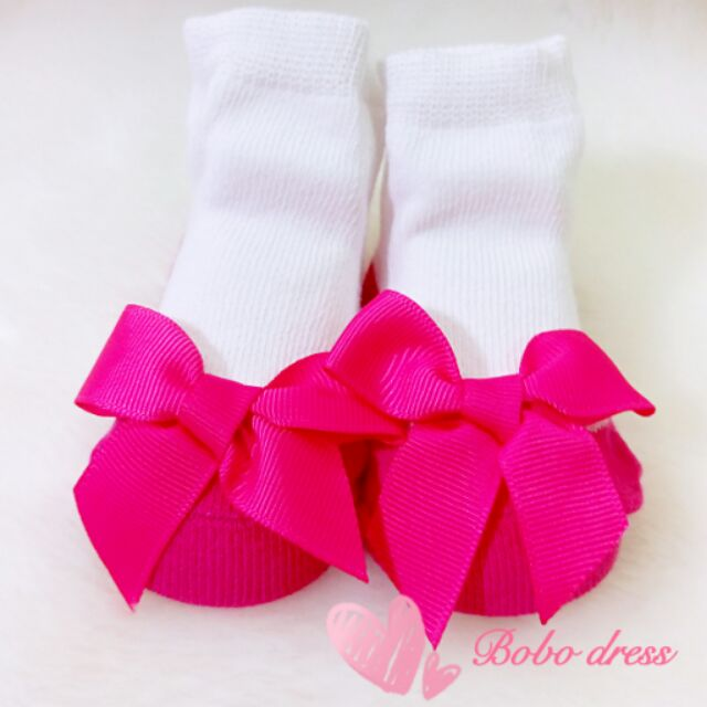 ~Bobo dress ~ 桃紅色蝴蝶結公主 寶寶嬰兒襪新生兒滿月彌月百日週歲生日花童婚紗