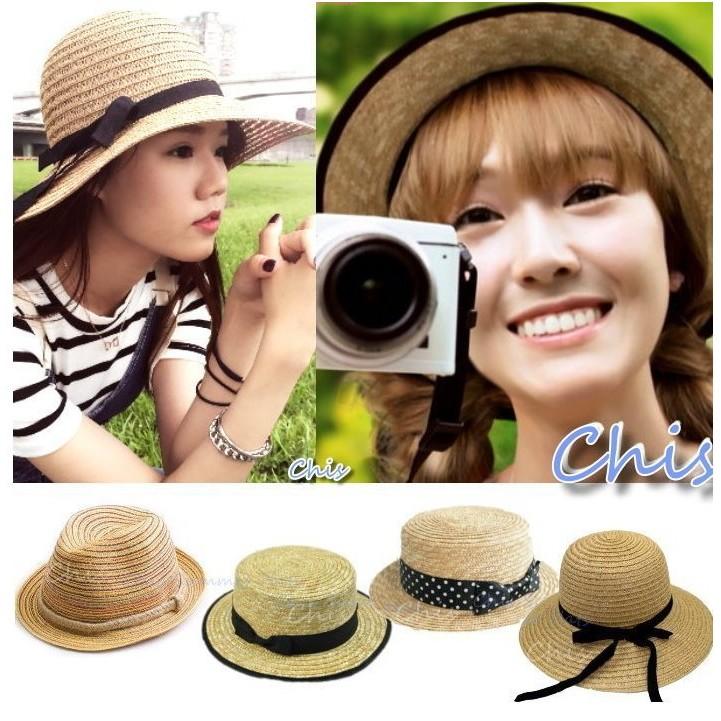 Chis Store ~正韓國~春夏新品秀妍款出國海邊沙灘波西米亞防曬綁帶遮陽草帽漁夫帽小