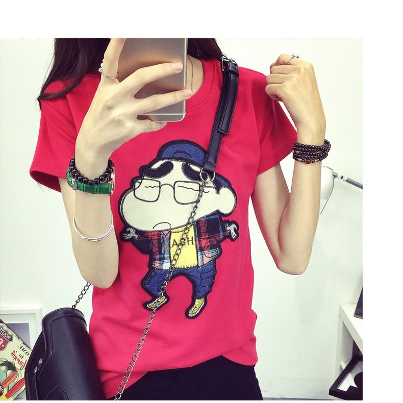 寬鬆顯瘦可愛蠟筆小新刺繡上衣百搭大碼學生短袖T 恤女裝